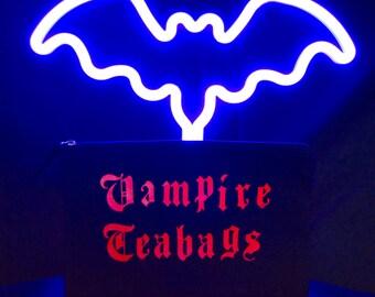 Vampire Tea Bags Tampon & Maxi Pad Bag Zippered Cotton Purse / Tampon Keeper / Jewelry Bag / Makeup Bag / Vampire Bag