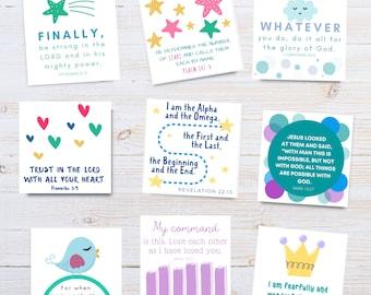 Kids Scripture Cards   Children's Bible Verse Memory Cards   Best Memory Verse Cards for children   Bible Verse Kids   Set of 32   Printable