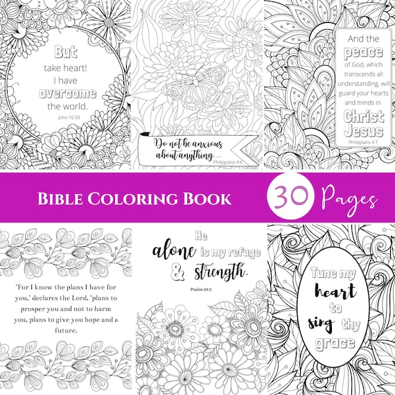 30 Bible Verse Coloring Pages Christian Art Adult Coloring Etsy