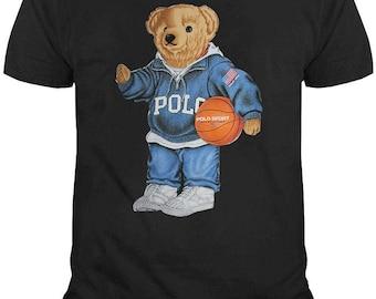 Vintage Polo Bear Play Basket Grey HOODIE