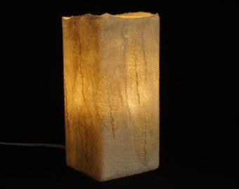 Felt Lamp Table Lamp Felted Lamp Felt Leaves Skeleton Leaves Natural Light White