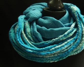 Felt Scarf Felt loop loop felt cords Nunofilz Caribbean Sea turquoise