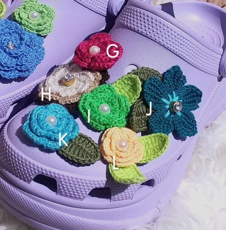 One of a kind embellished crochet flower shoe charms for foam clogs