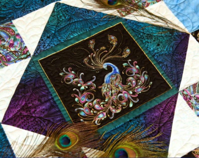 Peacock Flourish 108 WIDE Backing Opulence Mottled Multi by Ann Lauer for Benartex