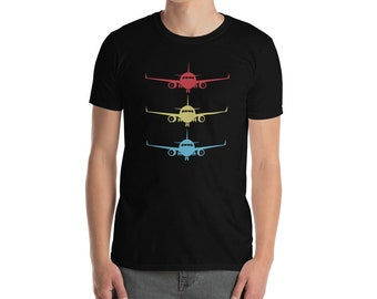Stacked Aircraft Short-Sleeve Unisex T-Shirt - The perfect gift for aviation & airline lovers