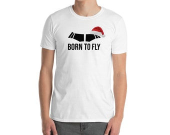 Born To Fly Christmas Santa Hat Airline Aviation White T Shirt Unisex