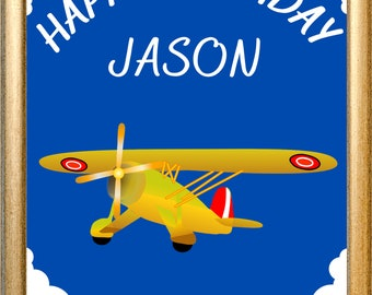 Custom Digital Yellow Plane Birthday Printable Party Sign, Table Decor, Boys Blue Children's Party - Customize Your Name