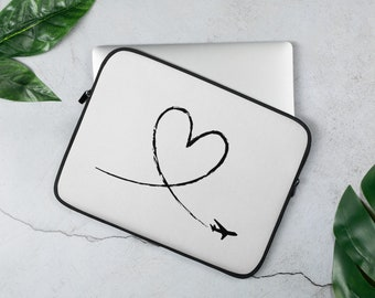 Love To Fly Aviation And Airline Laptop Sleeve Cover And Protector For Airline Lovers - White Cover