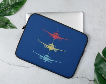 Stacked Aircraft Aviation And Airline Laptop Sleeve Cover And Protector For Airline Lovers - Blue Cover