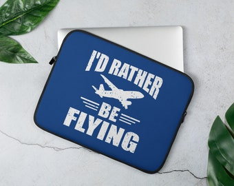 I'd Rather Be Flying Aviation And Airline Laptop Sleeve Cover And Protector For Airline Lovers - Blue Cover