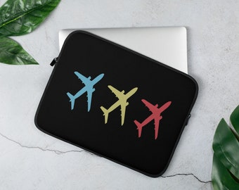 Flying Aircraft  Aviation And Airline Laptop Sleeve Cover And Protector For Airline Lovers - Black