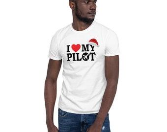 I Love My Pilot Christmas Santa Hat Airline Aviation Gift White T Shirt Unisex