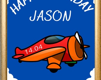 Custom Digital Red Plane Birthday Printable Party Sign, Table Decor, Boys Blue Children's Party - Customize Your Name