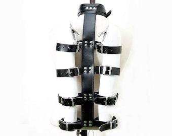 Genuine Black Leather Arm and Neck Binder Bondage Restraint Set BDSM for Adult Play