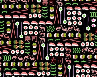 for Michael Miller Fabrics 100/% Cotton Quilting Fabric I Love Sushi in Black from Geisha Girl Collection