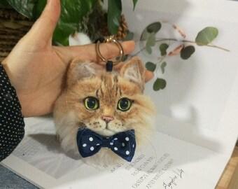 100/% Handmade Wool Custom Cat Needle Felted Keychainbag charm; Pet Memorial; Pet Portrait