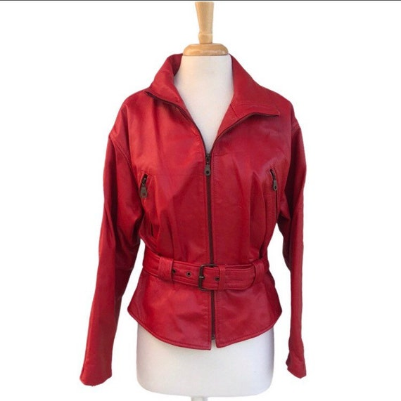 Vintage 90s Avanti red leather moto belted jacket
