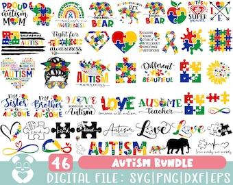 Autism Svg Bundle, Autism Awareness Svg, Autism Quote Svg, Au-Some Svg, Autism Mom Svg, Puzzle Svg, Autism Ribbon Svg, Puzzle Piece Svg
