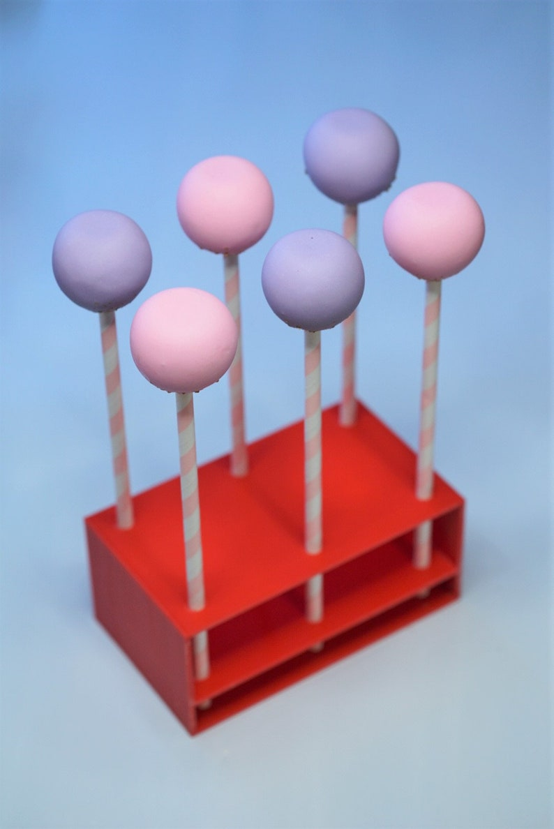 Cake Pop Stand for Straws in Red Holds 6