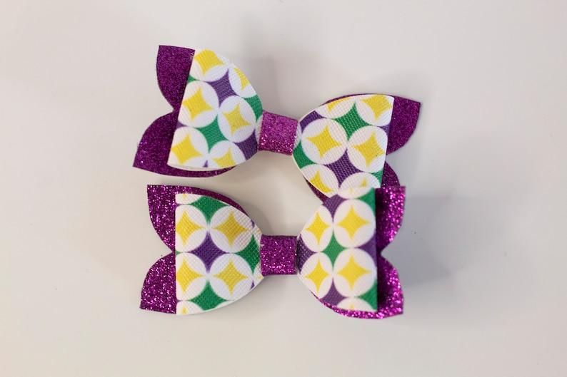 Mardi Gras Faux Leather Handmade Bows