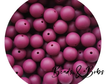 Pearl Pink 15mm round silicone beads for jewellery and craft projects