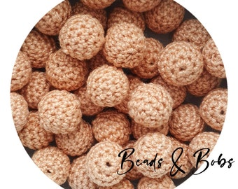 16mm crochet wooden beads for jewellery and craft projects - Light Brown