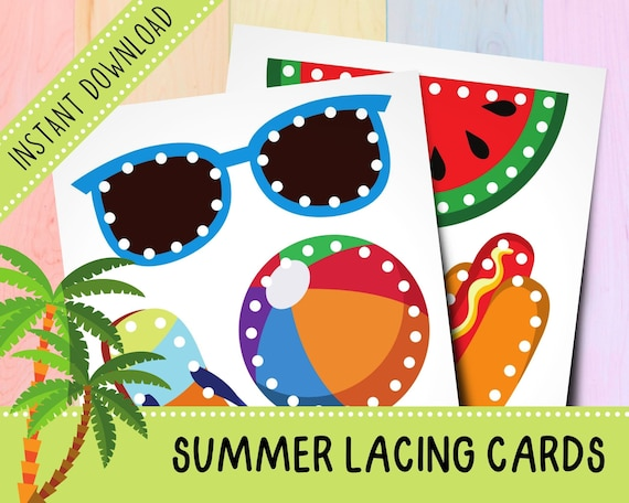 Summer Lacing Cards Bundle  Activities for Toddlers  Fine