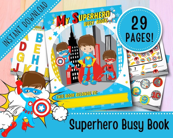 Superhero Busy Book for Toddlers  Boys Busy Book  Busy