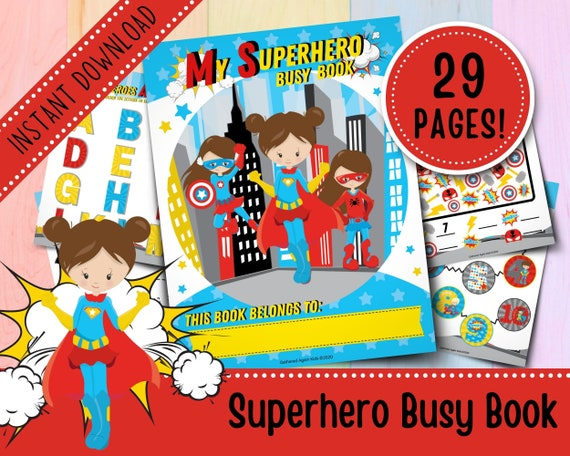 Superhero Busy Book for Toddlers  Girls Busy Book  Busy