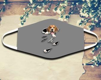 Beagle Funny Cloth Face Mask Dog Lovers Quarantine Social Distancing Cotton Face Mask