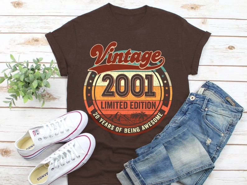 20th Birthday Gifts for Men 20th Birthday Shirt Vintage 2001 Birthday Shirt Women 20th Birthday Gift Shirts 2001 Limited Edition Shirt