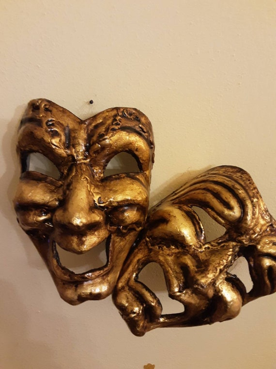 Tragic mask Comic mask tragicomic mask made in Venice in cartapesta of the Commedia dell/'Arte\u00a0