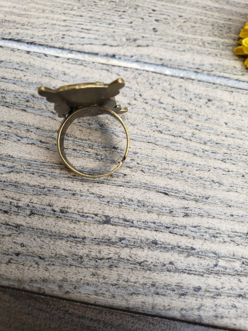 Dried Pink Flower Owl Antique Bronze Adjustable Cabochon Ring