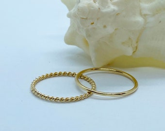 10K Solid Gold Thin Ring, 1mm Round Wedding Band, 1.25mm Twisted Gold Ring, Dainty Stackable Ring, Simple Wedding Band, Birthday Gift Women
