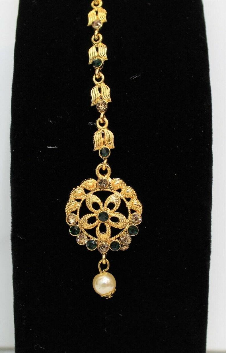 Indian jewellery traditional vintage maang tikka headpiece head piece gold new