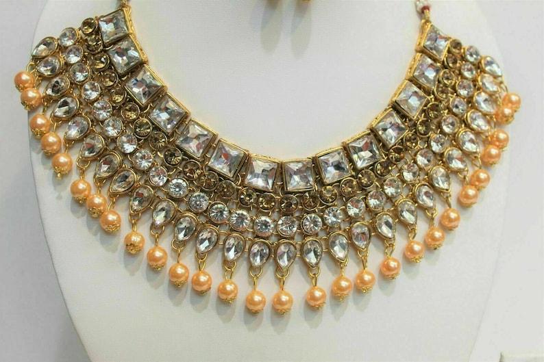 Indian bollywood Legendry Mughal Era gold Pearl Necklaces Ethnic Designer Set