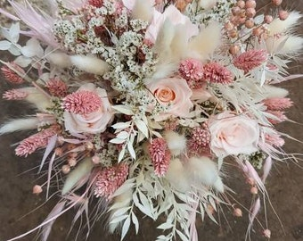Bridal bouquet in pastel bound from dried flowers
