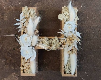 Letters/numbers, of choice, with dried flowers