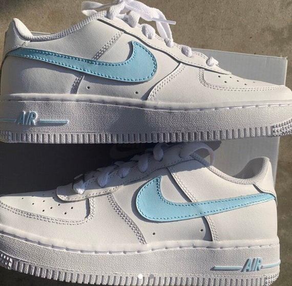Custom made nike air force 1 baby blue