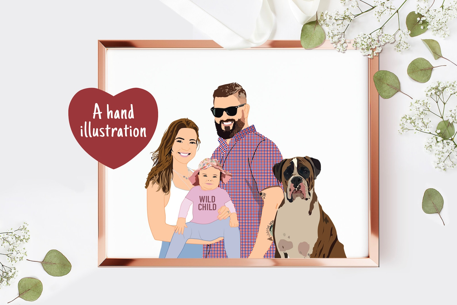 Dog Family Illustration Portrait