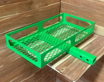 lime green, Hitch mounted cargo rack, luggage rack, vehicle basket, neon pink powder coated, ice chest storage, mild steel, 2'' hitch