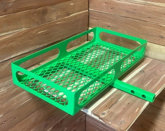 lime green, hitch mounted cargo rack, luggage rack, vehicle basket, ice chest storage, mild steel, motorcycle hitch basket