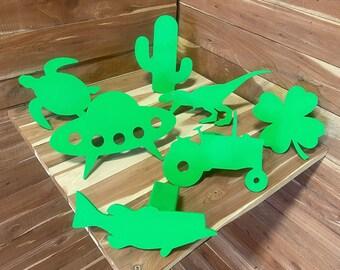 Lime green,   hitch cover, unicorn, cactus, yeti, oklahoma, texas, flamingo