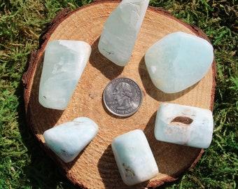 Caribbean Teal Calcite Tumbled Stones A-K