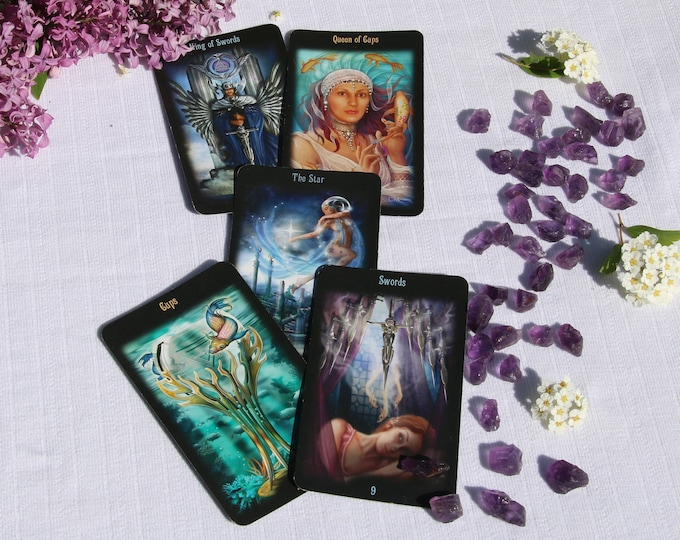 Featured listing image: 3 or 5 Card Tarot Reading and Guidance With Crystal Option