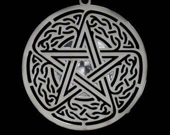 """1.75"""" Pentacle Silver Colored Grid"""