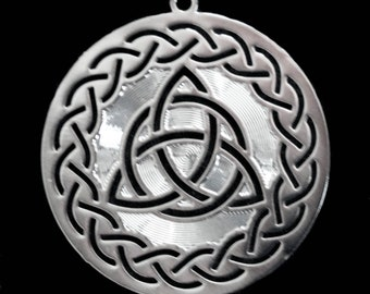"1.75"" Celtic Triqueta Silver Colored Grid"