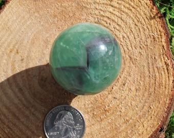Green and Purple Fluorite Sphere #D