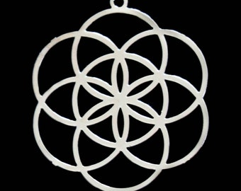 """1.75"""" Seed of Life Silver Colored Grid"""