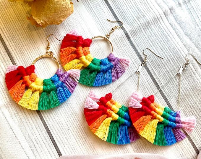 Featured listing image: Rainbow Earrings, Triangle Drop Earrings, Macrame Earrings, Gay Pride Earrings, LGBTQ+ Multicolor Earrings, Gold Triangle, Silver Triangle